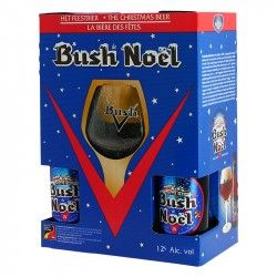 BUSH Christmas Beer Gift Box 4X33 cl + 1 Beer Glass
