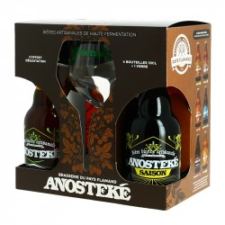 Gift Pack ANOSTEKE Beer 4 X 33 cl + 1 Beer Glass