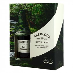 Box ABERLOUR 12 years Un-chillfiltered Speyside Whiskey + 2 glasses