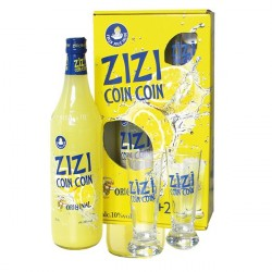ZIZI COINCOIN Lemon Aperitif Liqueur Gift Box with 2 Glasses