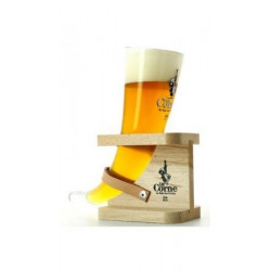 La Corne du Bois des Pendus 33 Beer Glass with its wooden support